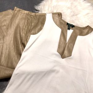Vintage Ralph Lauren Gold Linen Pants Set ~ 12